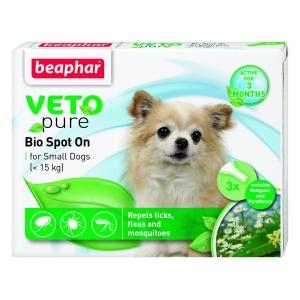 Beaphar Veto Pure Bio Spot On Dog репелентни капки за кучета от дребни породи, 3 бр