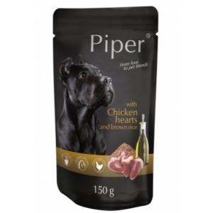 Piper пауч - пилешки сърца и кафяв ориз, 150 гр