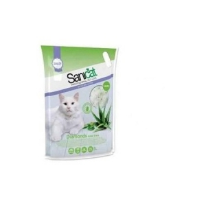 Постелка за котешка тоалетна SaniCat Diamonds Aloe Vera, 5л/2.4кг