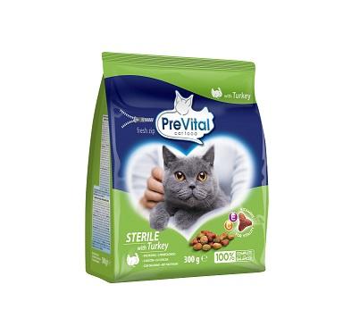 Prevital суха храна за кастрирани котки с пуйка, 300гр